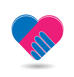 agreement handshake formed in a heart icon vector image