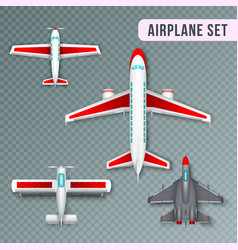 airplane top view set vector image