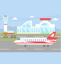 airport with plane on runway ready to take off vector image
