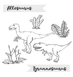 allosaurus and tyrannosaurus with plant and vector image