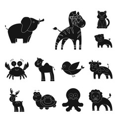 An unrealistic black animal icons in set vector