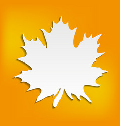 autumn abstract orange background with blank leaf vector image