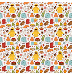 Autumn items seamless pattern vector