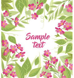 background pink flowers and leaves vector image