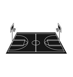 basketball courtbasketball single icon in black vector image