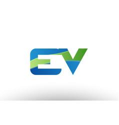 blue green ev e v alphabet letter logo vector image