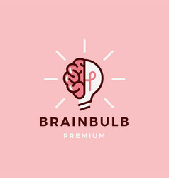 brain lamp bulb logo icon vector image