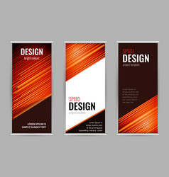 bright roll-up banner with red lines on dark vector image