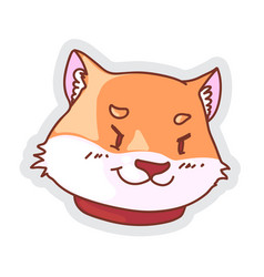Cartoon sneaky corgi dog sticker isolated on white vector