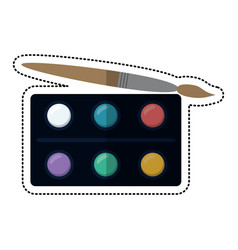 Cartoon watercolors palette brush paint vector