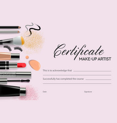 certificate makeup school vector image
