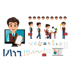 Character creation set young business man with vector