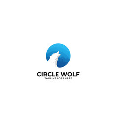 circle wolf template vector image