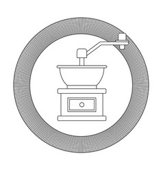 Circular logo shield decorative of coffee grinding vector