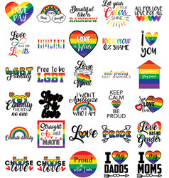 Collection lgbt phrases slogans or quotes vector