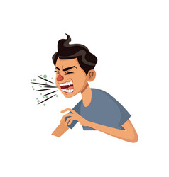 Coughing man sick person with cold flu and virus vector