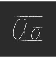 Cursive letter a icon drawn in chalk vector image