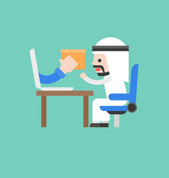 Cute arab business man accept parcel from laptop vector