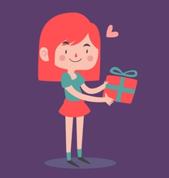 Cute Girl Holding a Wrapped Present vector image