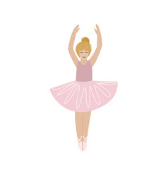 Cute small ballerina dancing blond ballerina girl vector