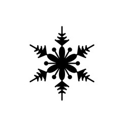 cute snowflake black icon sign on isolated vector image