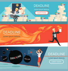Deadline banners workload office managers work vector