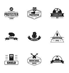 Defend logo set simple style vector