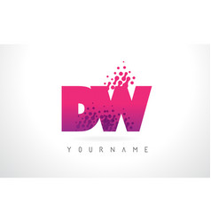 Dw d w letter logo with pink purple color and vector