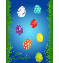 Easter floral background with eggs vector image