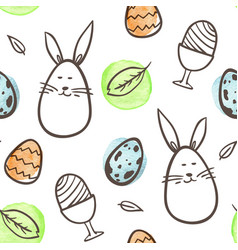 easter seamless with rabbit and eggs vector image