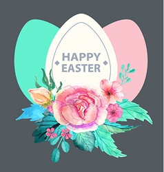 Easter watercolor natural with egg sticker vector image