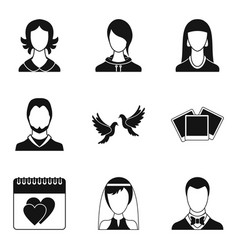 Family relation icons set simple style vector
