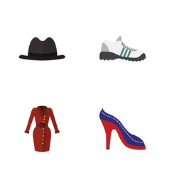 Flat garment set of panama heeled shoe clothes vector