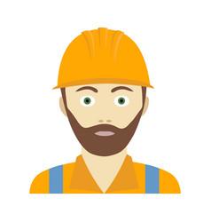 Flat icon of builder man in a helmet vector