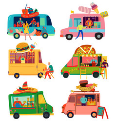 food trucks set vector image