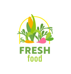 fresh food farmer market banner with green plants vector image