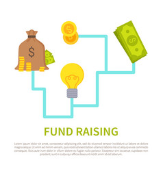 Fund raising poster with scheme how to get money vector