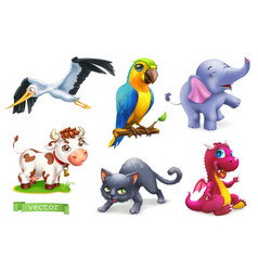 Funny animals 3d icon set stork parrot elephant vector