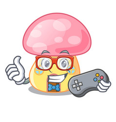 Gamer mushroom house in a shape character vector