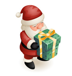 gift box cute isometric 3d christmas santa claus vector image