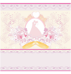 golden wedding rings and wedding couple - vector image