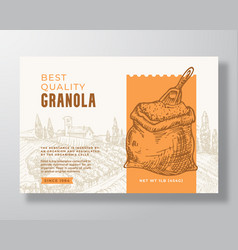 Granola cereal label template oatmeal abstract vector
