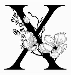 Hand drawn floral uppercase x monogram and vector