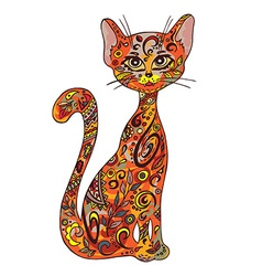 hand drawn printable of sitting zentangle cat Can vector image