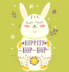 happy easter retro card with rabbit eggs flowers vector image