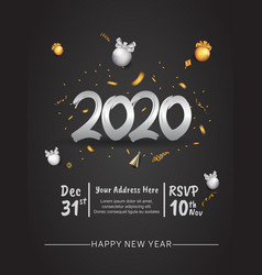 Happy new year 2020 silver number with confetti vector