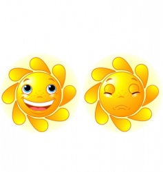 Happy sun and sad sun vector
