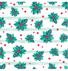 Holly berry grunge stripes holiday seamless vector