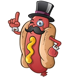 Hot Dog Gentleman Cartoon Character vector image