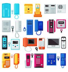 Intercom on-door communication equipment in vector